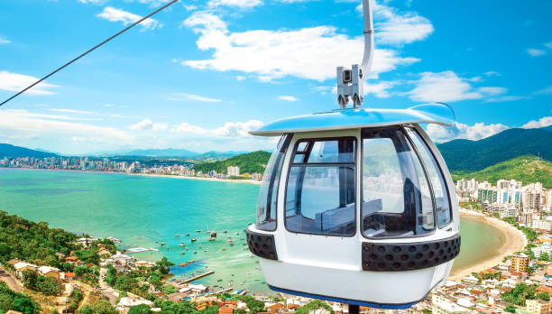 Cableway on beach stock photo
