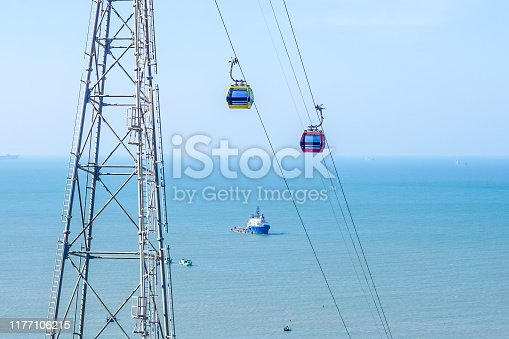 Cableway on the background of the sea