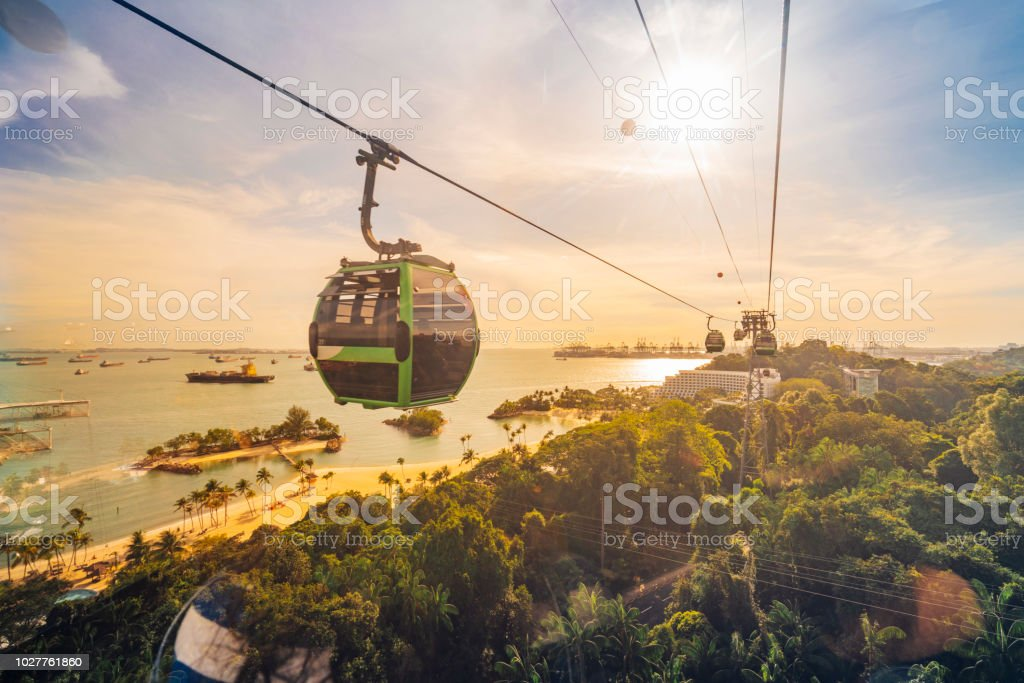 Cableway trip in Sentosa Island, Singapore stock photo