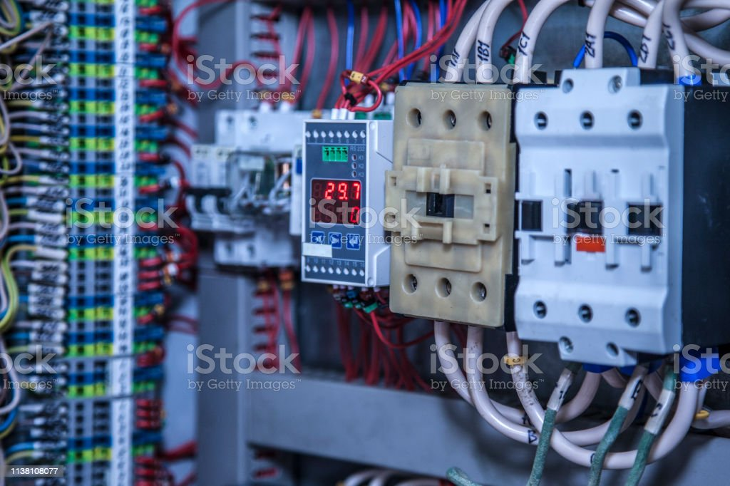 cabling connection of power electric line in industrial distribution...