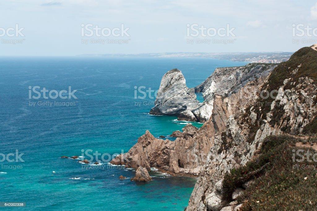 Cabo da Roca landscape cliffs Atlantic ocean stock photo