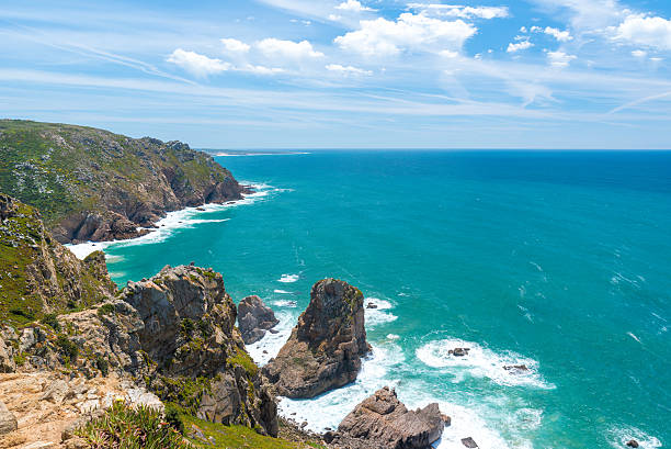 Cabo de Roca - Portugal Cabo de Roca - Viewpoint at the coast of Portugal acute angle stock pictures, royalty-free photos & images