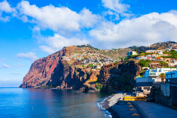 Cabo Girao cliff in Madeira, Portugal Cabo Girao is a cliff located along the southern coast of the island of Madeira in Portugal headland stock pictures, royalty-free photos & images