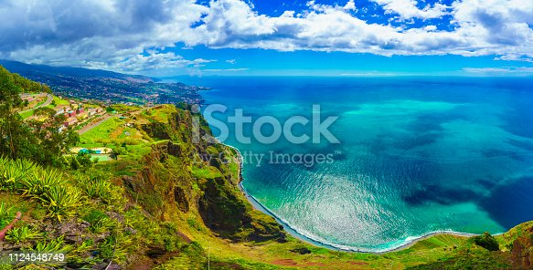 Aerial view from the highest Cabo Girao, Madeira island, Portugal