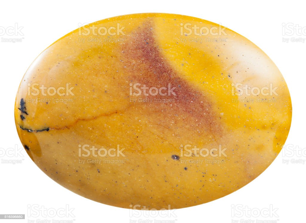 cabochon from yellow mookaite mineral gemstone stock photo