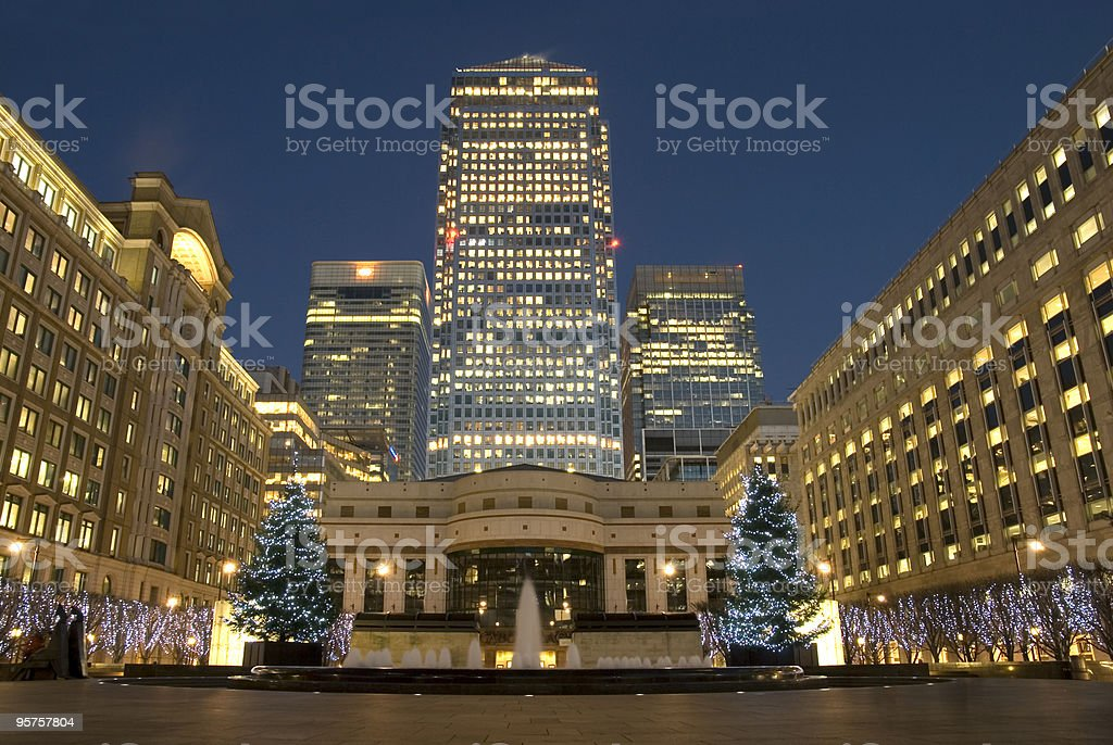Cabot Square at Christmas time, London. stock photo