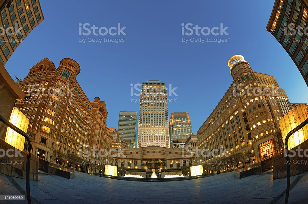 Cabot Square in Canary Wahrf, London stock photo