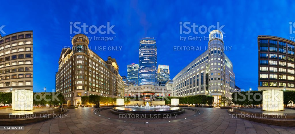 Cabot Square In London  at night, editorial stock photo