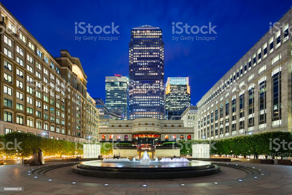 Cabot Square In London at night stock photo