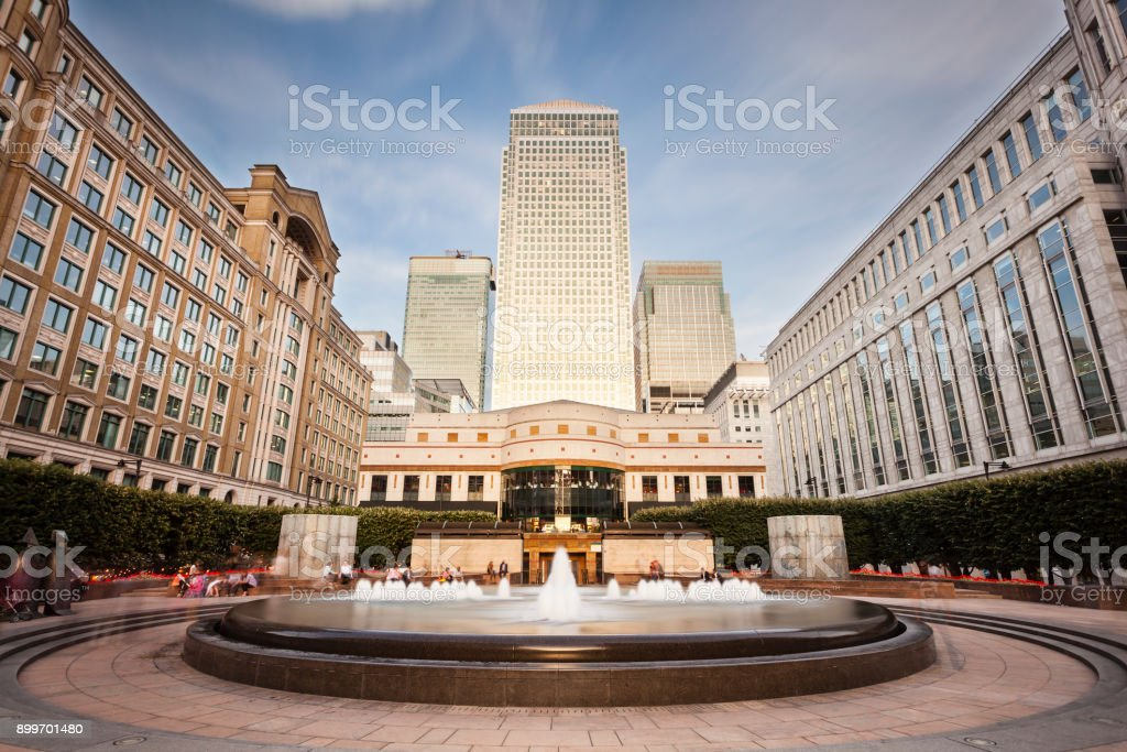Cabot Square In London Long Exposure stock photo