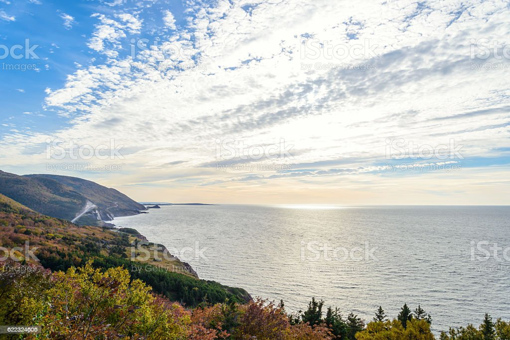Cabot Trail scenic view stock photo