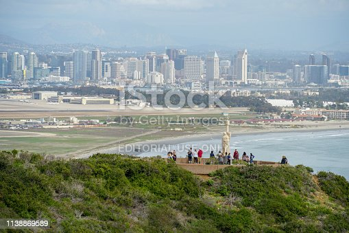 Cabrillo National Monument, at the tip of the Point Loma Peninsula in San Diego, California, USA. It commemorates the landing of Juan Rodríguez Cabrillo at San Diego Bay on sept 28, 1542.
