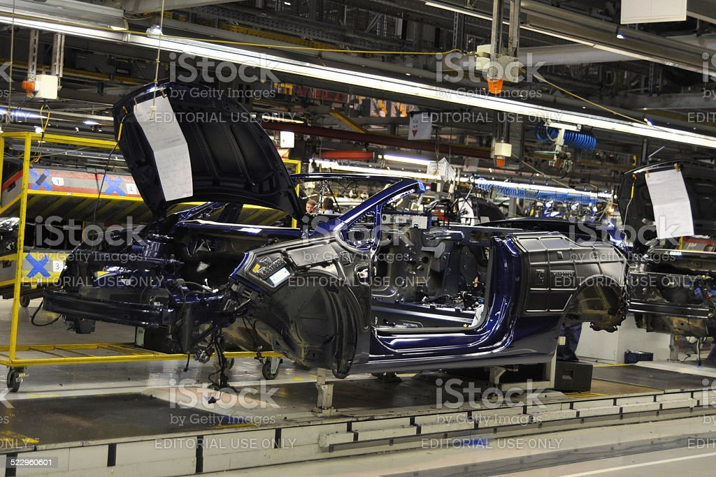 Cabriolet on the production line stock photo