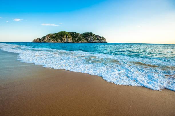 Cacaluta beach in Huatulko, Oaxaca, Mexico stock photo