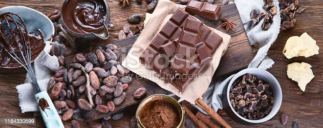 Cacao beans, powder, cacao butter,  chocolate bar and chocolate sauce on wooden background. Panorama, banner