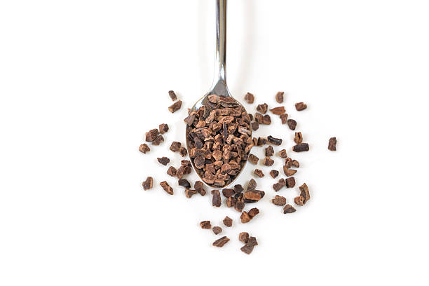 cacao nibs in a spoon on white background - isolated - stålpenna bildbanksfoton och bilder