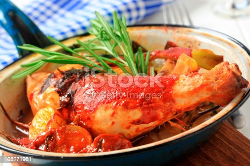 Cacciatore with potatoes in a pan