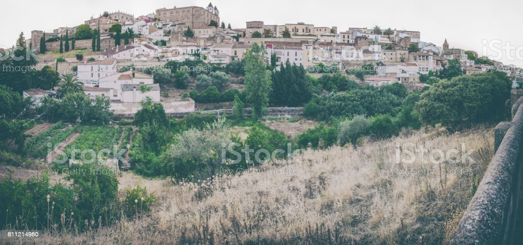 Caceres historic quarter taken from outskirts stock photo