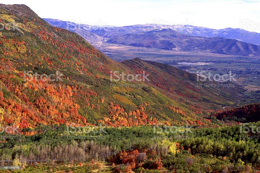 Cache Valley from Wellsville Mountains in autumn near Logan Utah stock photo