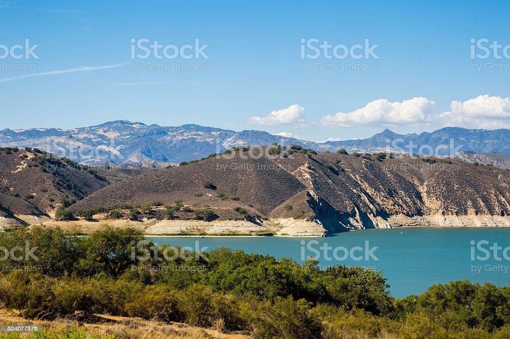 Cachuma Lake Below The Santa Ynez and San Rafael Mountains stock photo