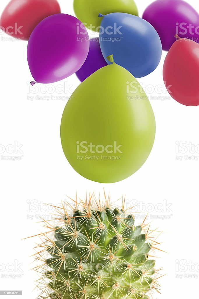 Cactus and balloons royalty-free stock photo