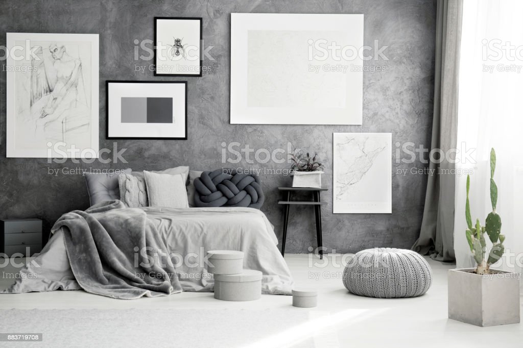 Cactus and pouf in bedroom stock photo