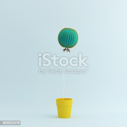 istock Cactus balloon in Yellow flower pot on pastel blue background. Creative minimal concept. 903520476