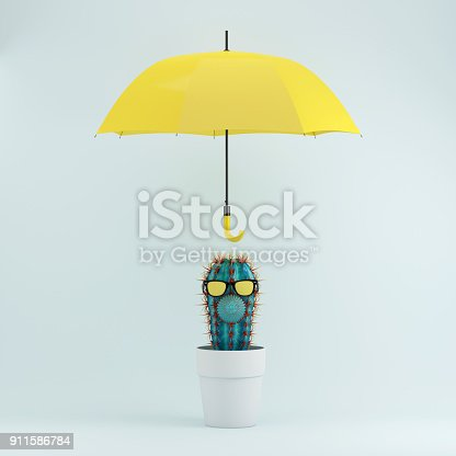 istock Cactus in white flower pot with yellow umbrella on blue pastel background, Minimal concept idea. 911586784