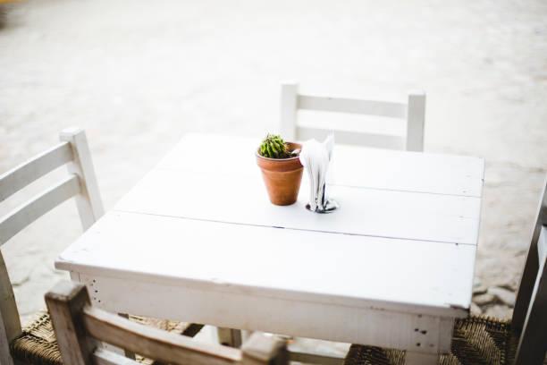 kaktus pflanze auf eine café-tisch - mexikanische möbel stock-fotos und bilder