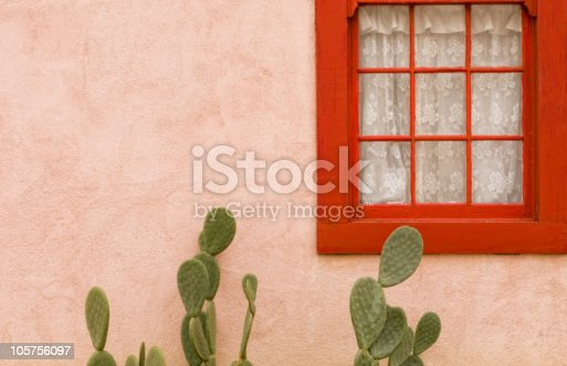Adobe wall with red framed window and cactus
