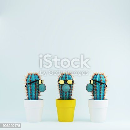 istock Cactus with glasses in yellow flower pot one different idea Cactus in white flower pots on pastel blue background. Creative minimal concept. 903520478