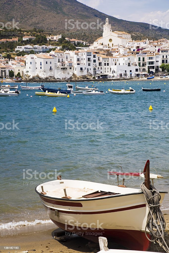 Cadaques town and fishing boat royalty-free stock photo