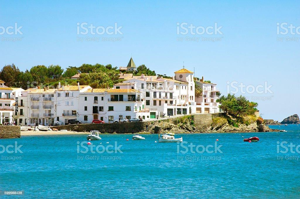 Cadaques village seaside view, Catalonia, Costa Brava. stock photo