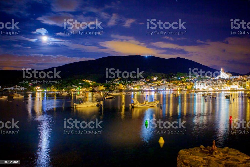 Cadaqués night - Costa brava landmark stock photo
