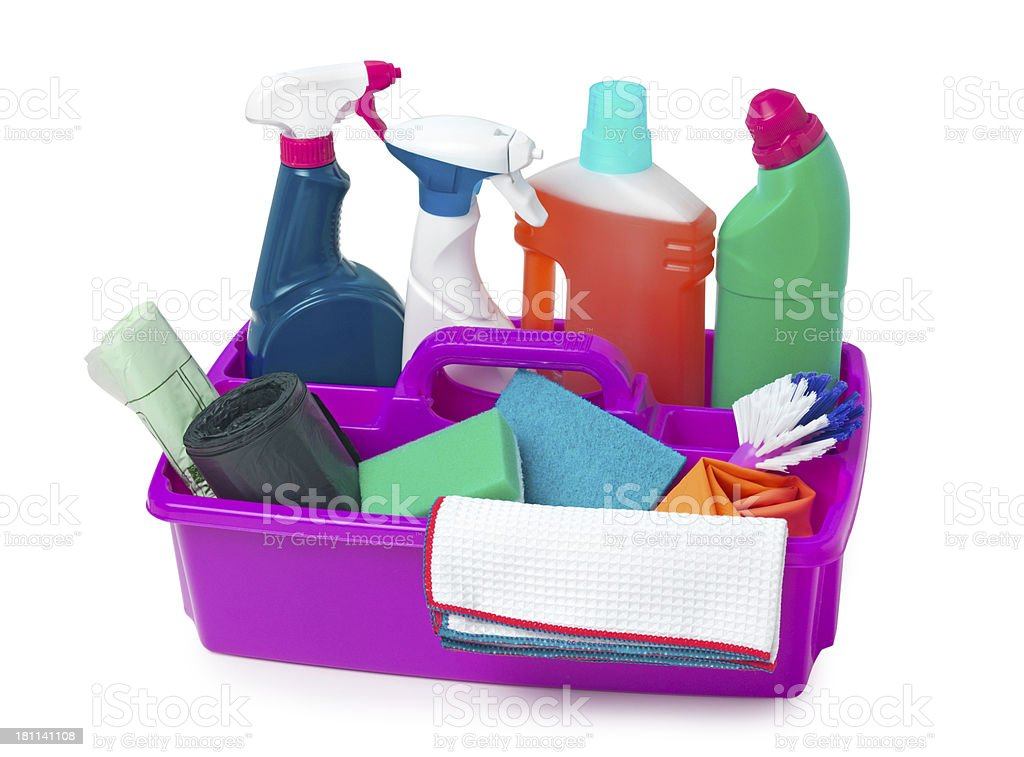 Caddy and cleaning product stock photo