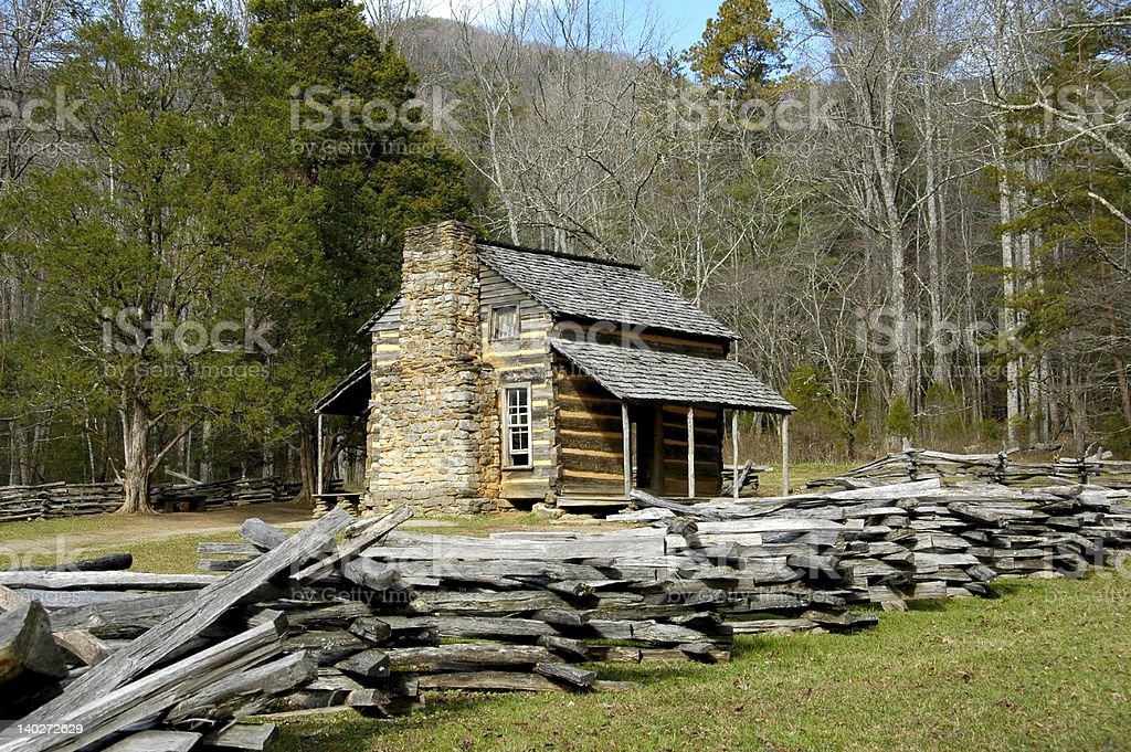 Cades Cove - John Oliver Cabin stock photo
