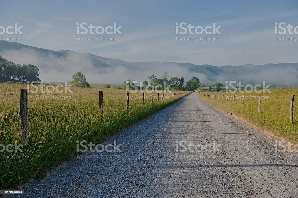 Cades Cove morning in the Smoky Mountains stock photo