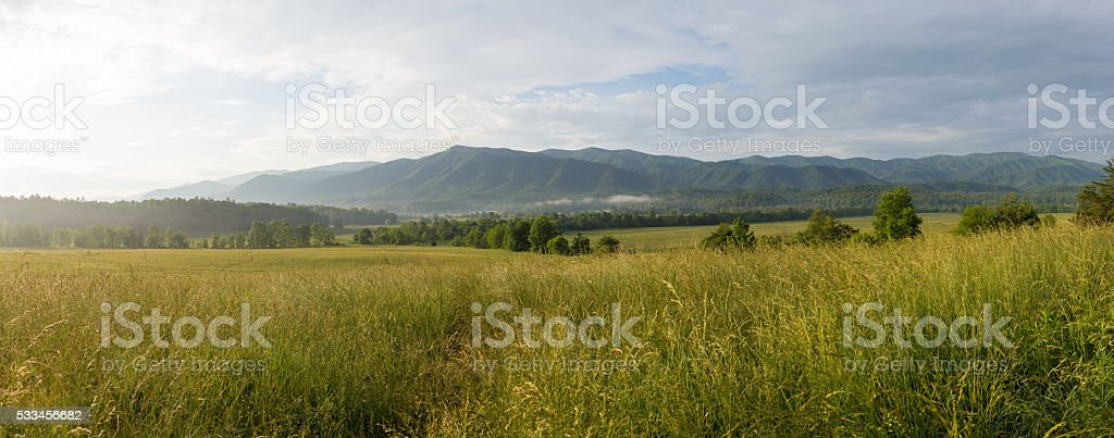 Cades Cove Sunrise Landscape stock photo