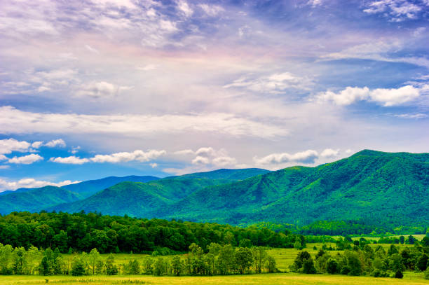 Cades Cove Valley in The Tennessee Smoky Mountains stock photo