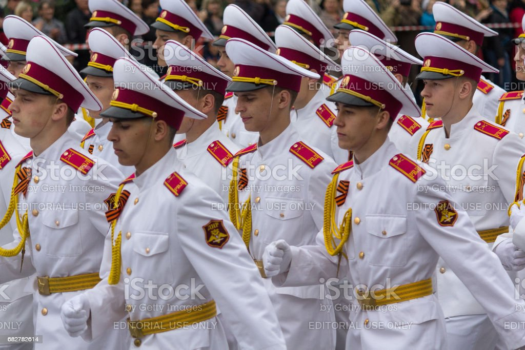 Cadets in white uniform on the parade stock photo