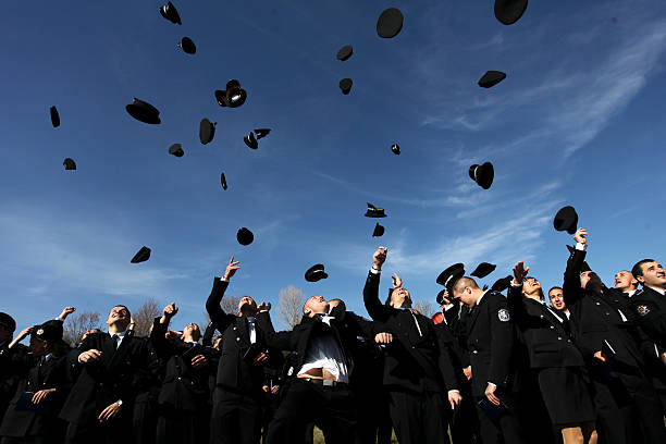 cadets of the police academy in sofia, bulgaria - feliz dia del policia fotografías e imágenes de stock
