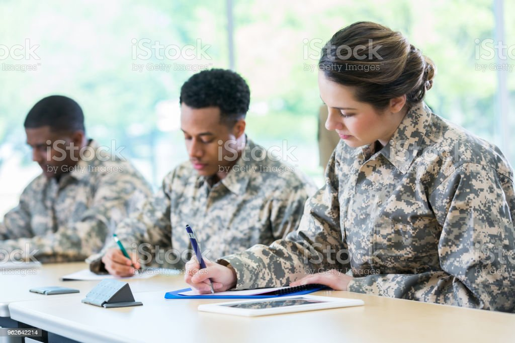 Cadets take test in military academy stock photo