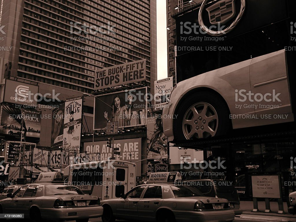 Cadillac Billboard in Times Square NYC 2003 stock photo