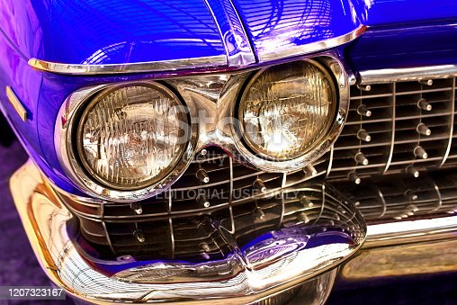 Yalta, Russia, July 2019.  Vintage classic retro car. Beautiful blu auto, front view.