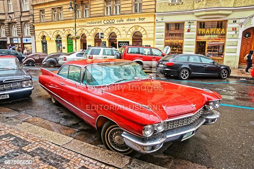 Prague, Czech Republic - June 10, 2012: Cadillac Eldorado american retro car 1959 in the streets of Prague, Czech Republic