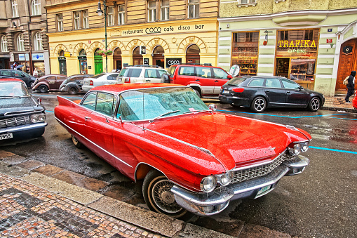 Prague, Czech Republic - June 10, 2012: Cadillac Eldorado american retro car 1959 in the streets of Prague, Czech Republic