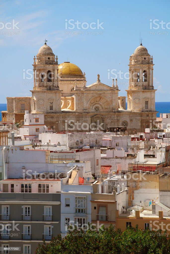 'Cadiz Cathedral'  is a Roman Catholic church in Cádiz, Spain royalty-free stock photo