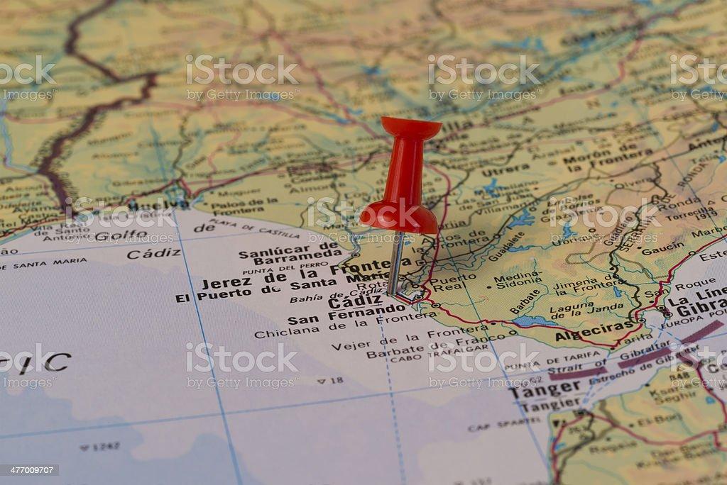 Karte Andalusien Cadiz.Cadiz Rot Gekennzeichnet Pushpin Auf Der Karte Stockfoto Und Mehr