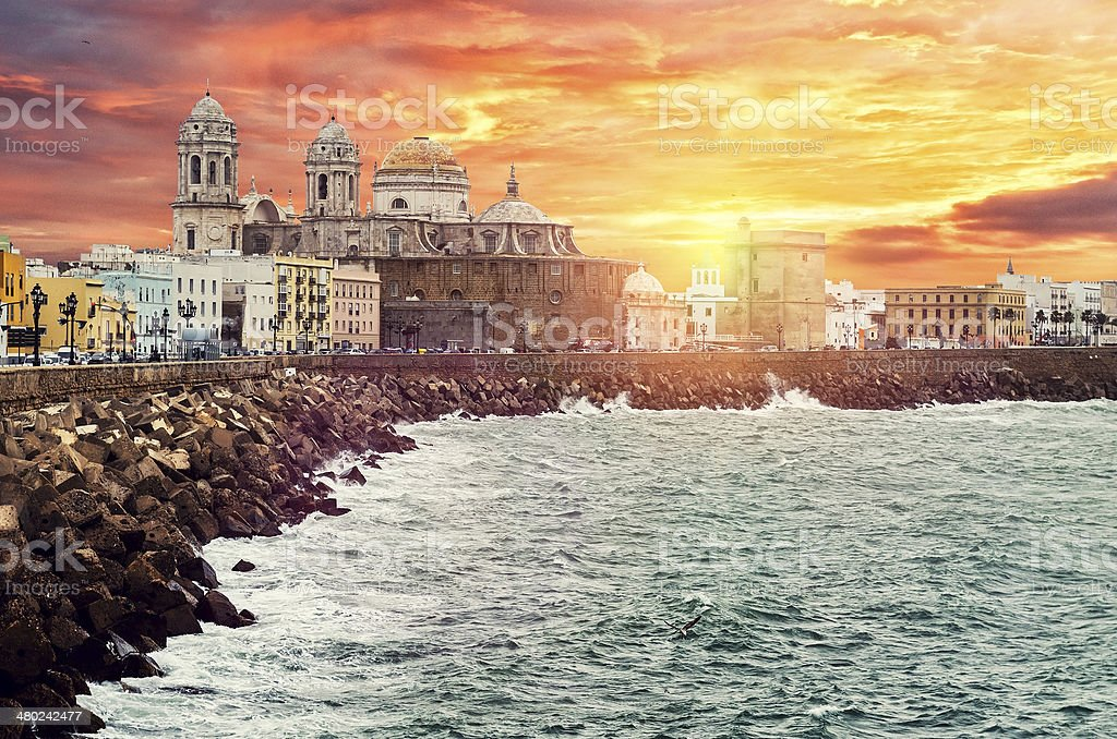 Cadiz quay and Cathedral Campo del Sur stock photo