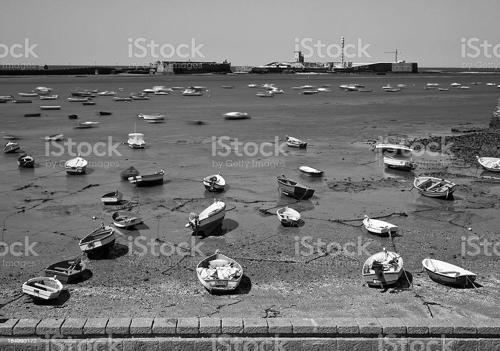 Cadiz seashore during low tide royalty-free stock photo